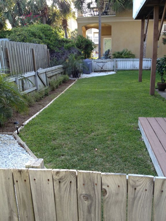 One of two grilling areas in the fenced backyard.