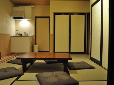 First floor tatami tearoom lounge open to all guests, mornings and evenings
