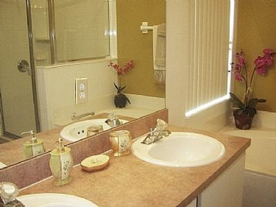 Master Bathroom with His and Hers Vanity unit large bath and huge walk in shower