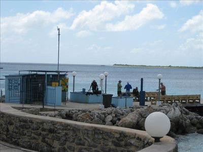 Dive pier for Bonaire Dive & Adventure which offers 24 Hour tank access