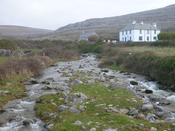 County Clare house rental - Fanore Lodge showing Caher river and Slieve Elva in the background.