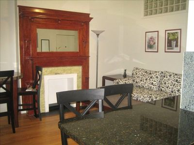 living room, fireplace, sofa, granite counter top