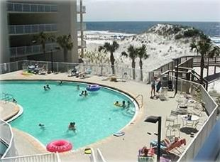 Great view of pool and beach from balcony!