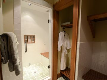 Steam shower in lower level