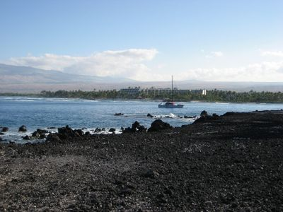 Enjoy the view of the Wynona anchored in front of the Mauna Lani hotel