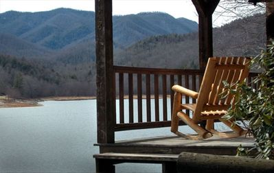 Lake Nantahala cabin rental - View from your rocker on the porch over a serene Nantahala Lake