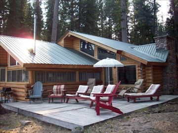 Seeley Lake cabin rental - Outside deck overlooking the lake