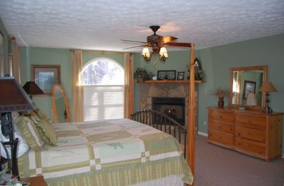 Bedroom Suite has gas log fireplace & is on upper level