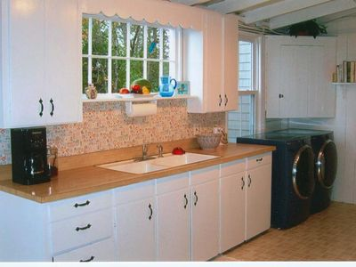 Biddeford house rental - Kitchen with High Efficiency Washer/Dryer