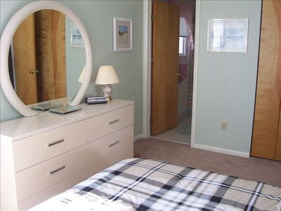 Mater bedroom features large closets and a modern master bath