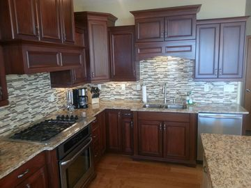Newly installed kitchen backsplash