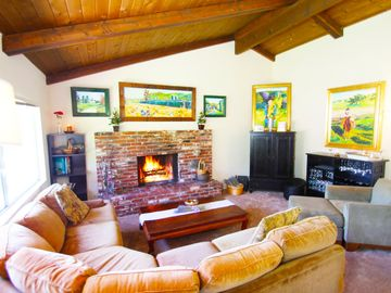 Hope Ranch house rental - Living Room with Fireplace