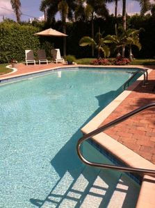 Old Naples house rental - Our 38x18' pool nestled in our landscaped and hedged back yard