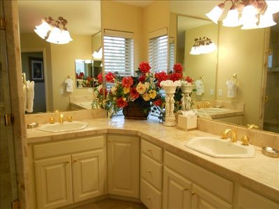 Luxurious Master Bath. Double Sinks, Expansive Shower w/Double Shower heads.