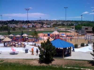 less than 1 mile: a park provides a huge playground, wave pool, sports fields