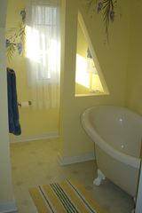 South Haven house photo - 2nd floor bathroom with claw foot tub and lots of natural light!