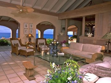 The Living Room, overlooking the Gallery , the Pool & the Caribbean