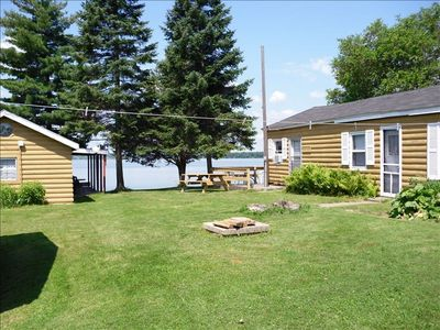 Cabin on the water quiet covered deck pier vrbo for Fishing cabin rentals wisconsin