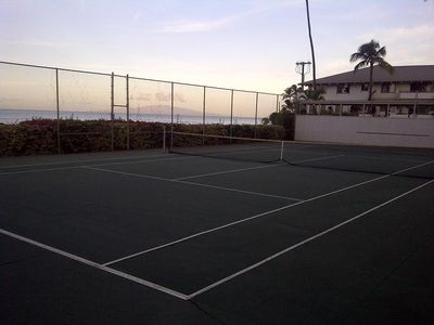Ocean view tennis court