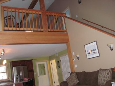 Manchester house rental - View of open stairway to second level loft and upper level bedroom !