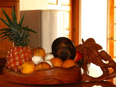 Local Fruits and Handcarved Bowl from Local Carver.