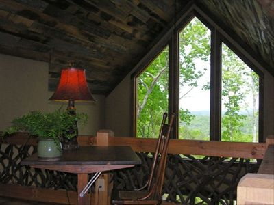 Loft with mountain laurel rail and view of the mountains