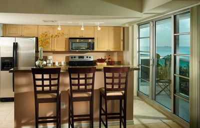 Full gourmet kitchen. Dishes, pots and pans, full-size appliances are included.