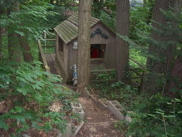 playhouse overlooking the ravine