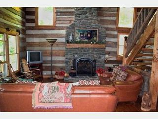 Todd cabin photo - Living Room-beautiful stone fireplace