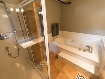 Master Bath with jacuzzi jetted tub and separate shower.