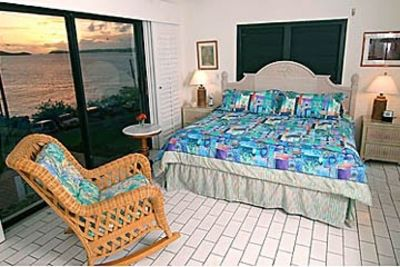 The Spacious Master Bedroom with Golden Sunset Across Pillsbury Sound.