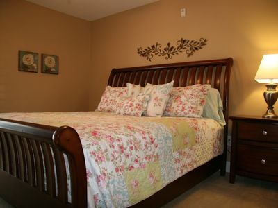 Crescent Beach villa rental - King Bedroom Upstairs with Balcony! FS TV&DVD