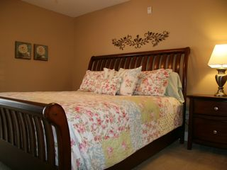 Crescent Beach villa photo - King Bedroom Upstairs with Balcony! FS TV&DVD
