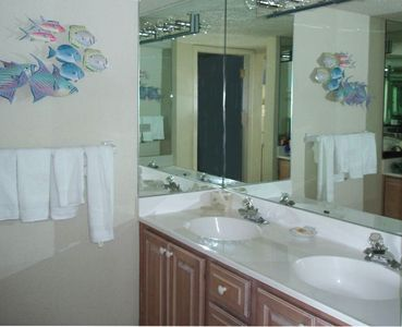Master Bath--Seperate mirrored Vanity/Make-up area from fully tiled shower/tub