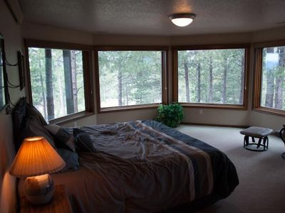 Wake up in the downstairs bedroom like you are sleeping in the great outdoors.