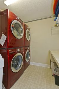 Laundry room has double washers and double dryers...big plus at the beach