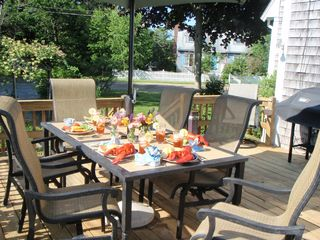 Biddeford house photo - Sunny, large deck ready for your lobster feast!