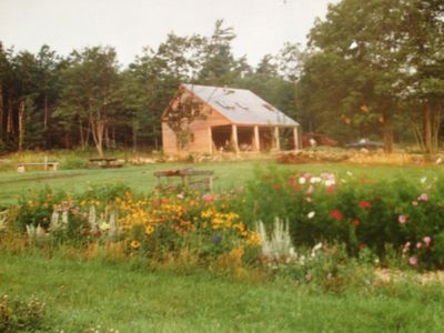 Our carriage house and flower garden