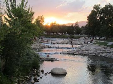 Sunset over the Truckee along the public ponds across the street from condo