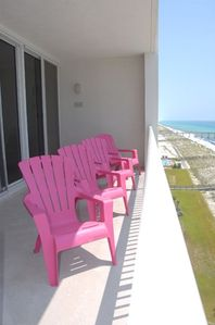 Vibrant balcony furniture for the best view on the beach