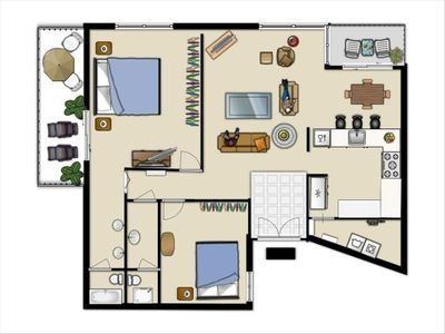 Floorplan of condo. Everything is updated. Flat screen TV's, granite, new beds