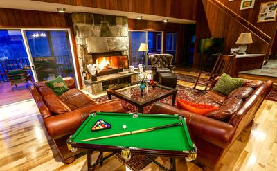 spectacular living room for hanging out beside the fire. Billiards anyone?