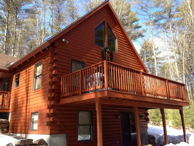 Log home w hot tub near shawnee peak naples homeaway for Cabin rentals in maine with hot tub