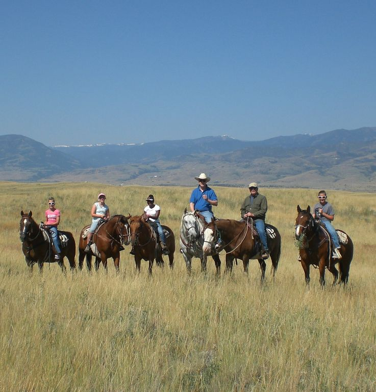 Rudy and our friends horseback riding at Chico Hot Springs Resort.