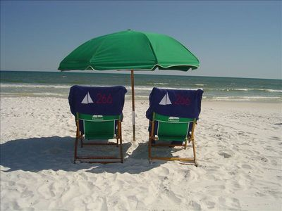 Enjoy the beautiful Gulf of Mexico from the free beach set up