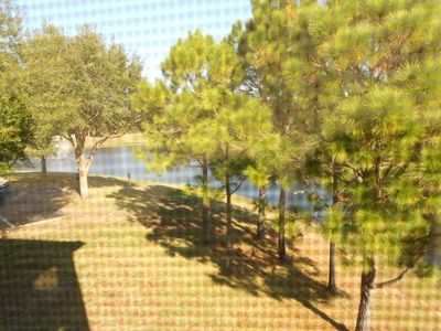 Balcony view of lake and pines...