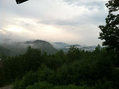 Interesting view with Summer Fog rolling in, from Deck