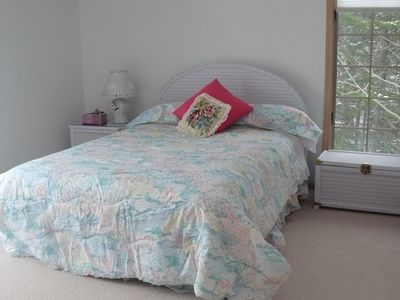 Wicker room- queen size bed.