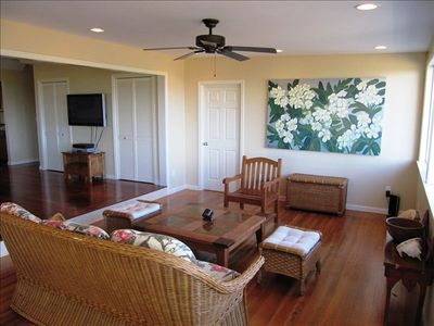 Family Room with old oak floors, Cieling Fans and Incredible Ocean Veiws