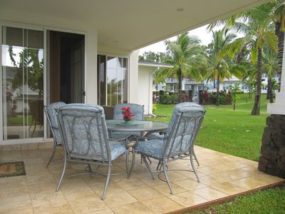 Princeville condo rental - Relax & Enjoy Our Quiet Lanai on End Unit with New Patio dinette set for 5.